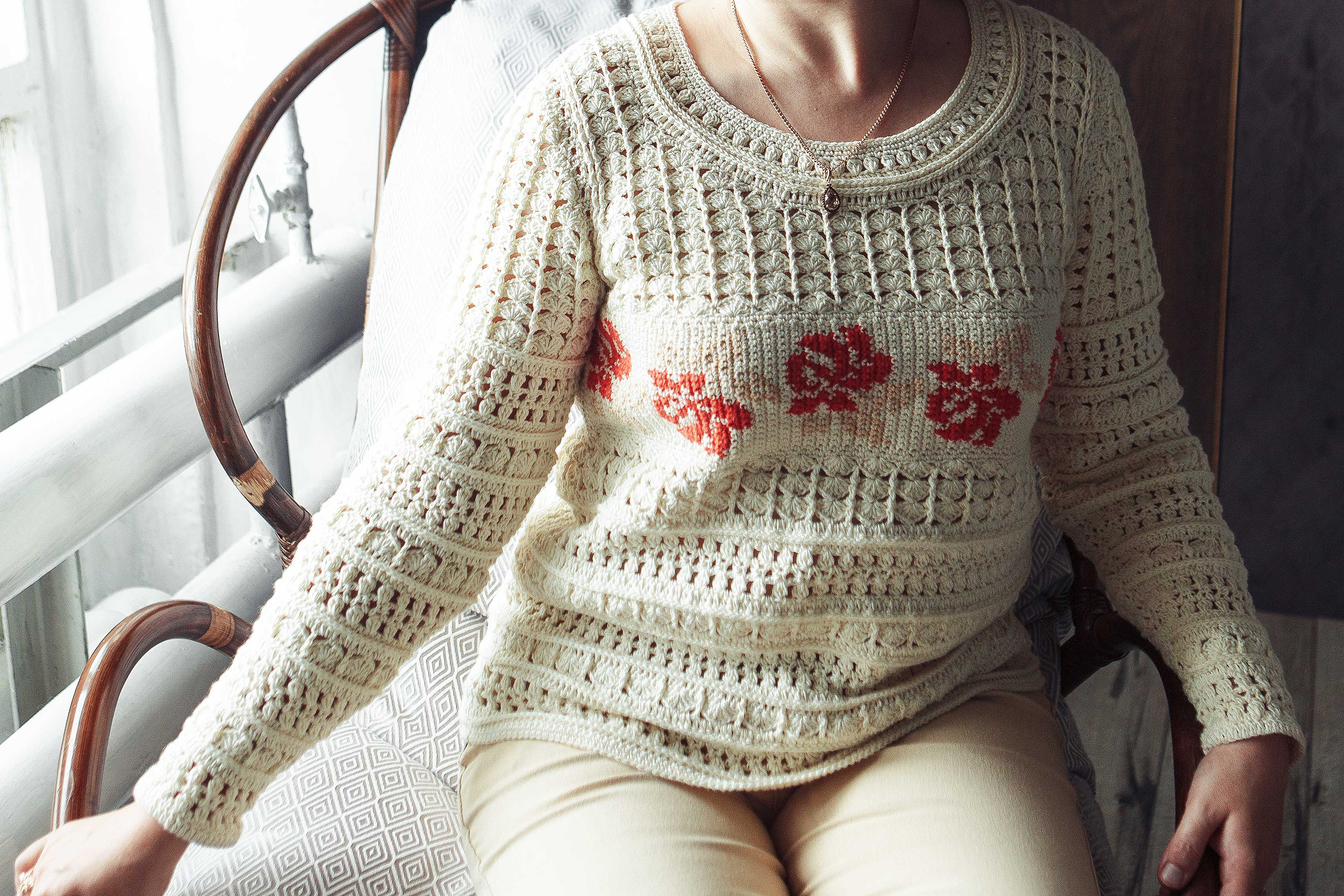 Crochet long sleeve top pattern