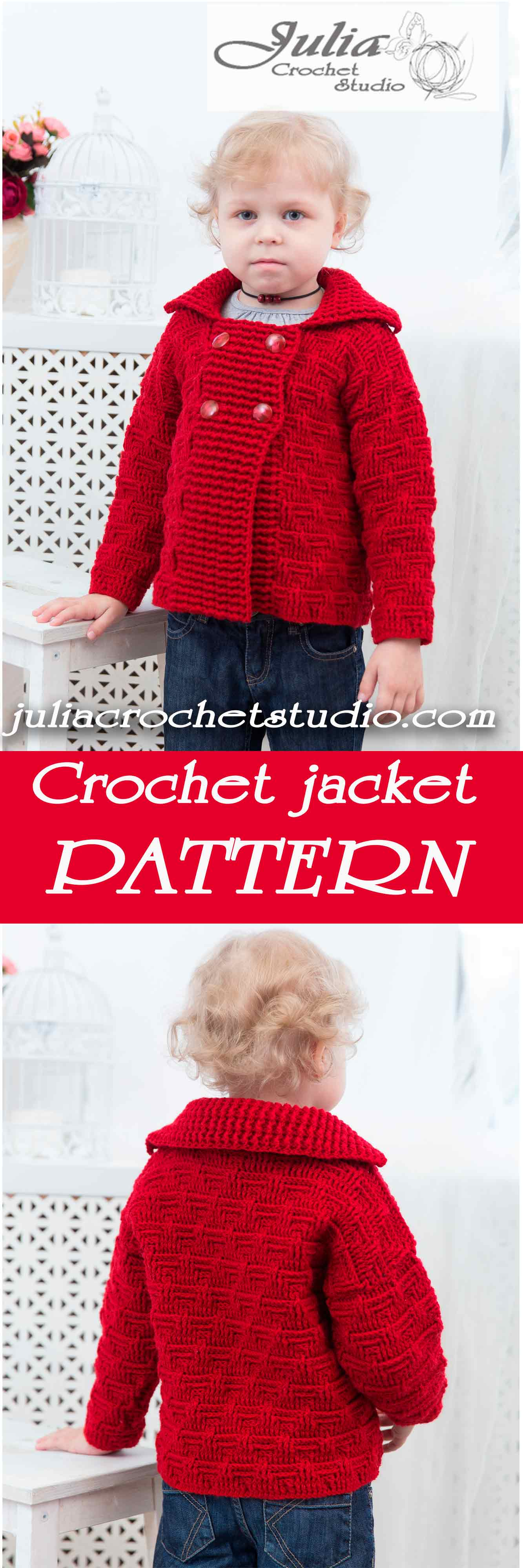 Warm crochet jacket pattern for girl