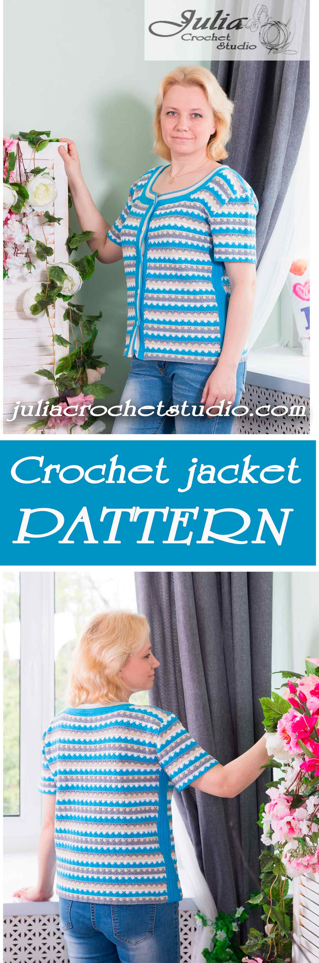 Multicolored crochet jacket pattern