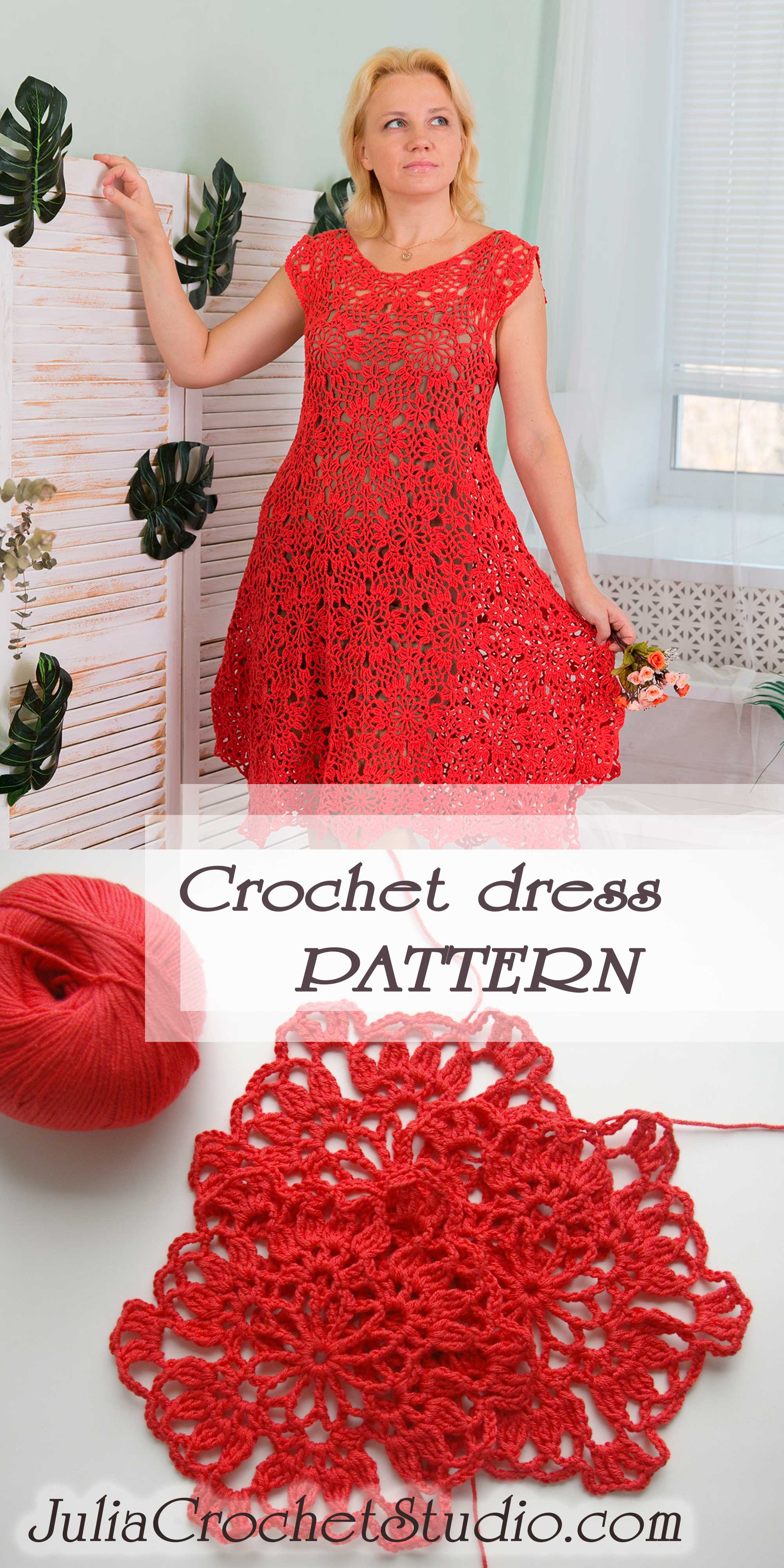 Crochet dress with round motifs